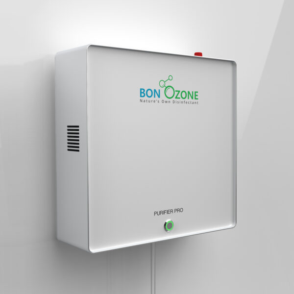 BonOzone Purifier Pro Attached to a wall with a tube